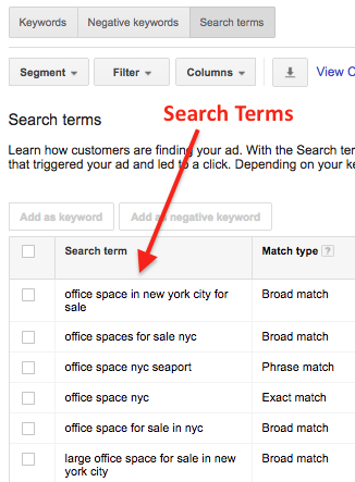 Search Terms on Google Adwords