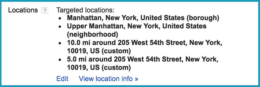 Google Adwords Geotargeting Locations Settings