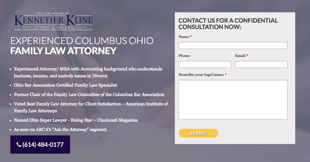 PPC landing page - family law attorney
