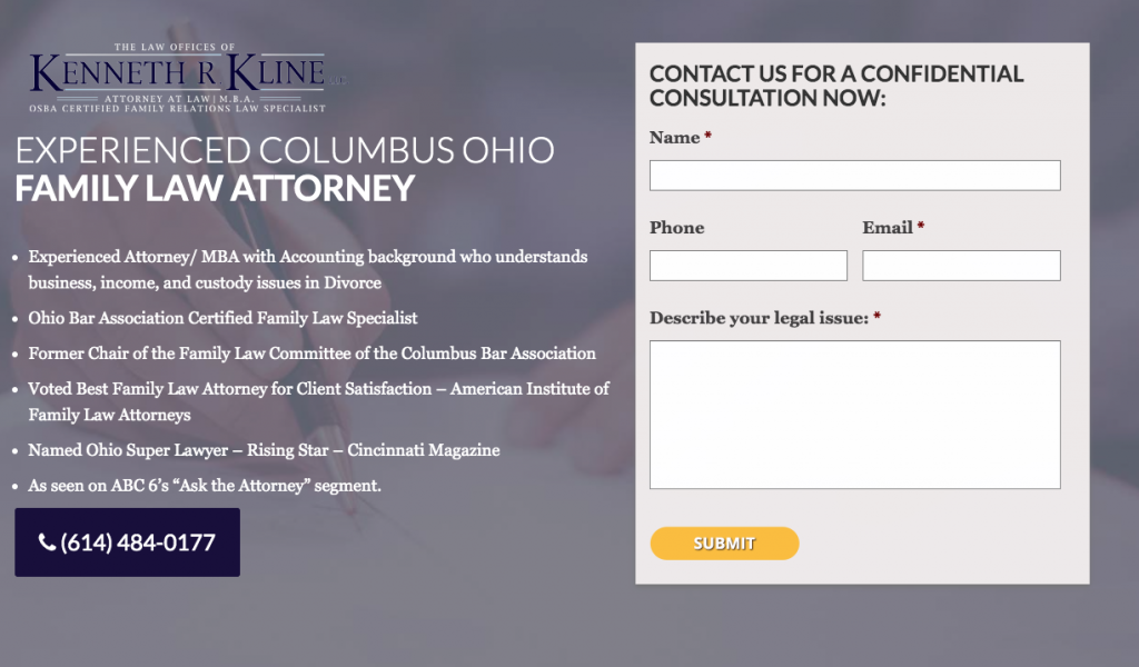 Attorney Landing Page Example for PPC