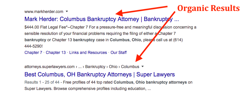 Organic SEO Results for Bankruptcy Attorneys