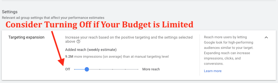Google Ad Display Targeting Expansion Slider