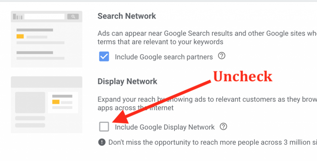 Google Ads Search & Display Settings