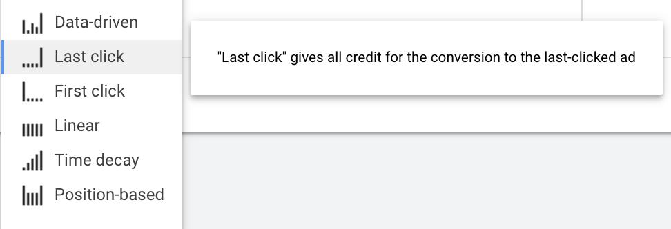google ads last click attribution settings