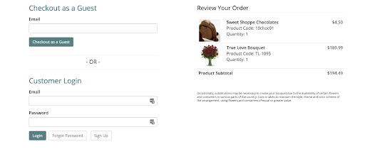 Floral Checkout Page